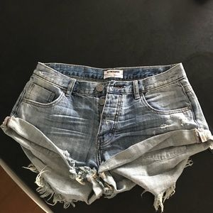 NWT One x One Teaspoon Blue Jack denim shorts
